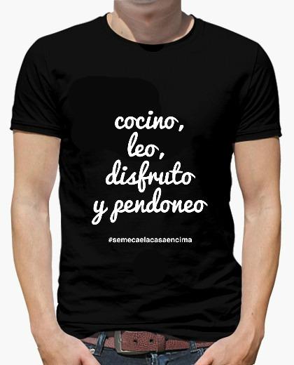 camiseta hombre NEGRA COCINO-LEO BLANCO