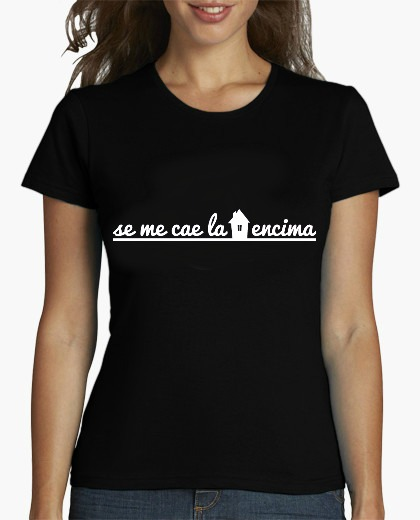 camiseta mujer NEGRA MC LOGO COLO ALARGADO BLANCO