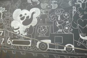 Talle Oteiza mural tiza